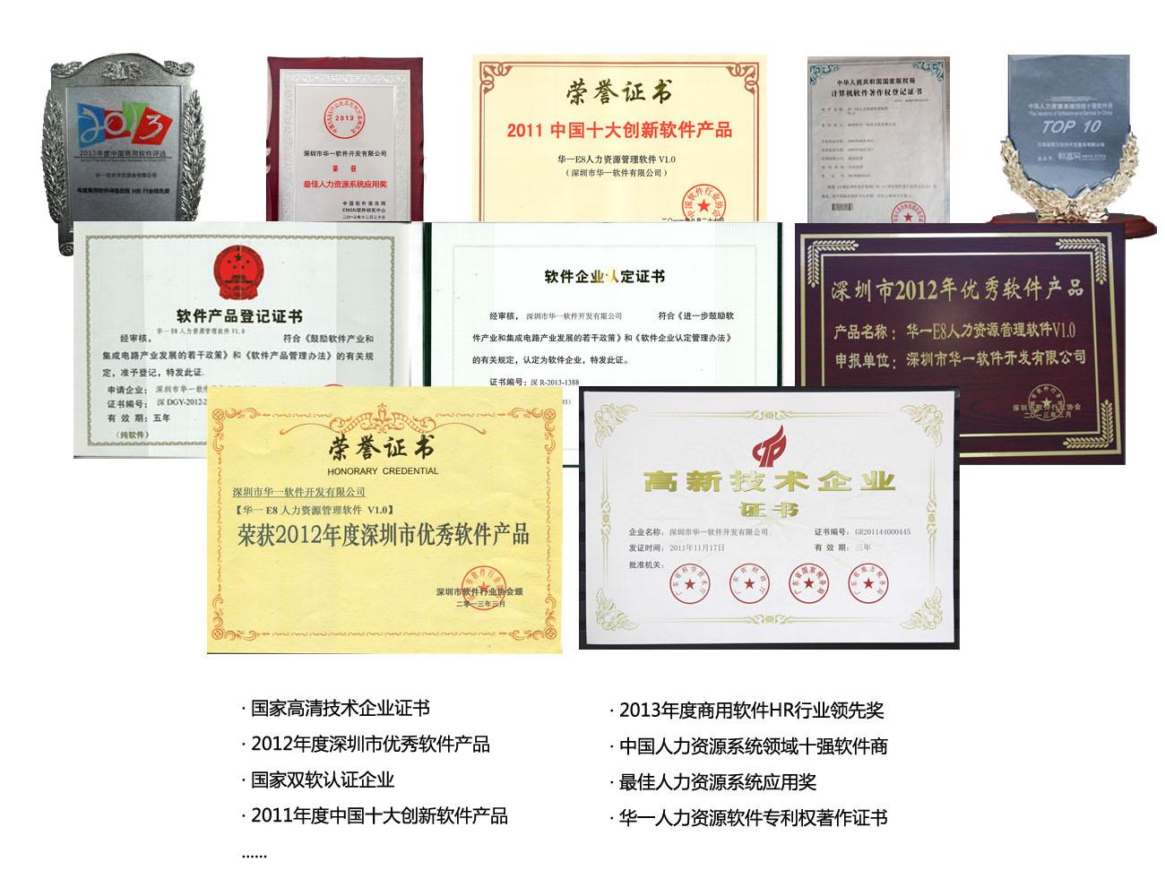 华一荣誉证书 - 华一软件_做最好的人力资源管理系统